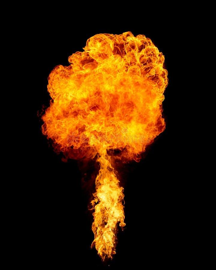 Chama da explosão isolada no preto fotos de stock