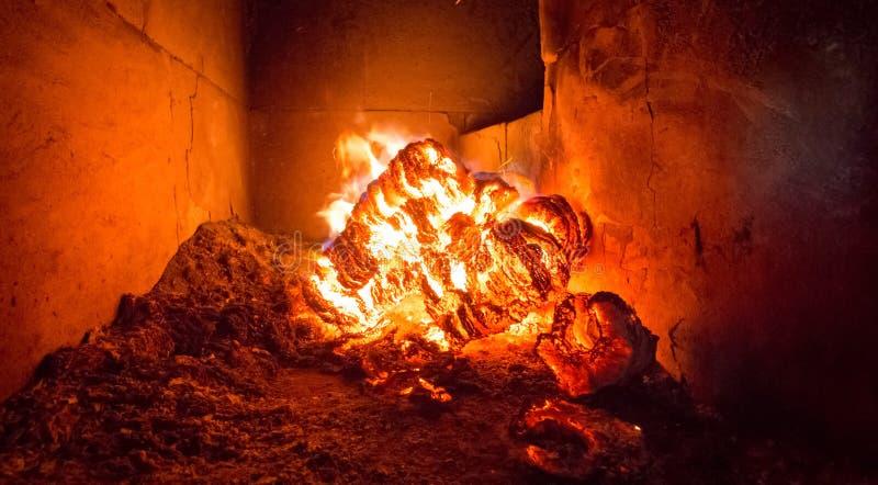 Chama do fogo da chama no fogão, alaranjado e preto imagens de stock