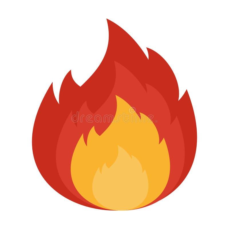 Chama do fogo no branco ilustração stock
