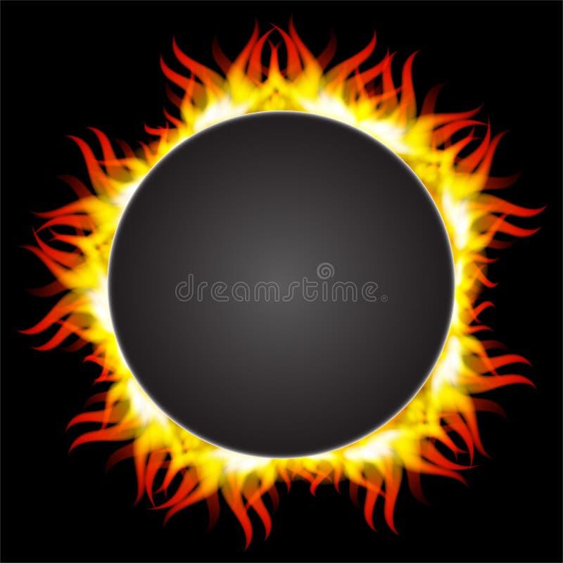 Chama do fogo no quadro circular ilustração do vetor