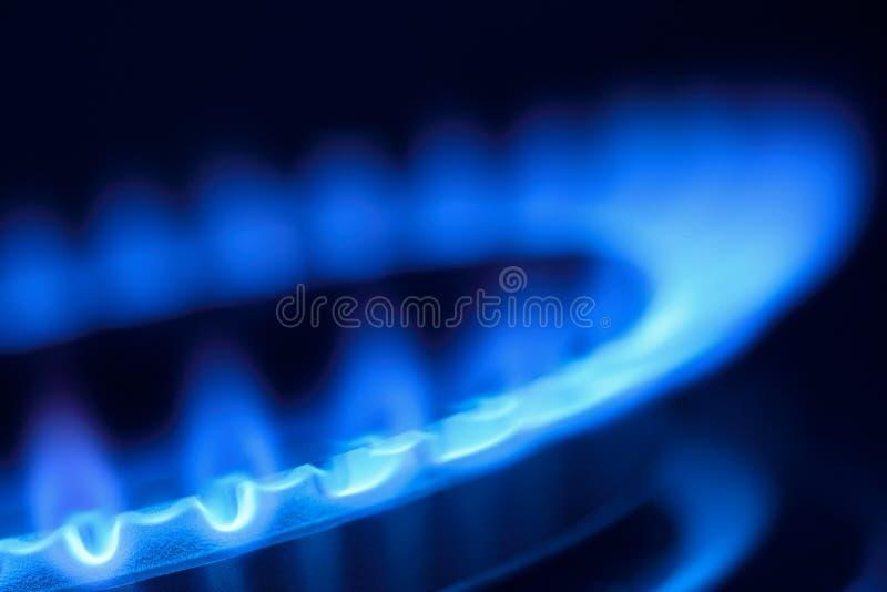 Chama do gás em um Hob do fogão fotografia de stock