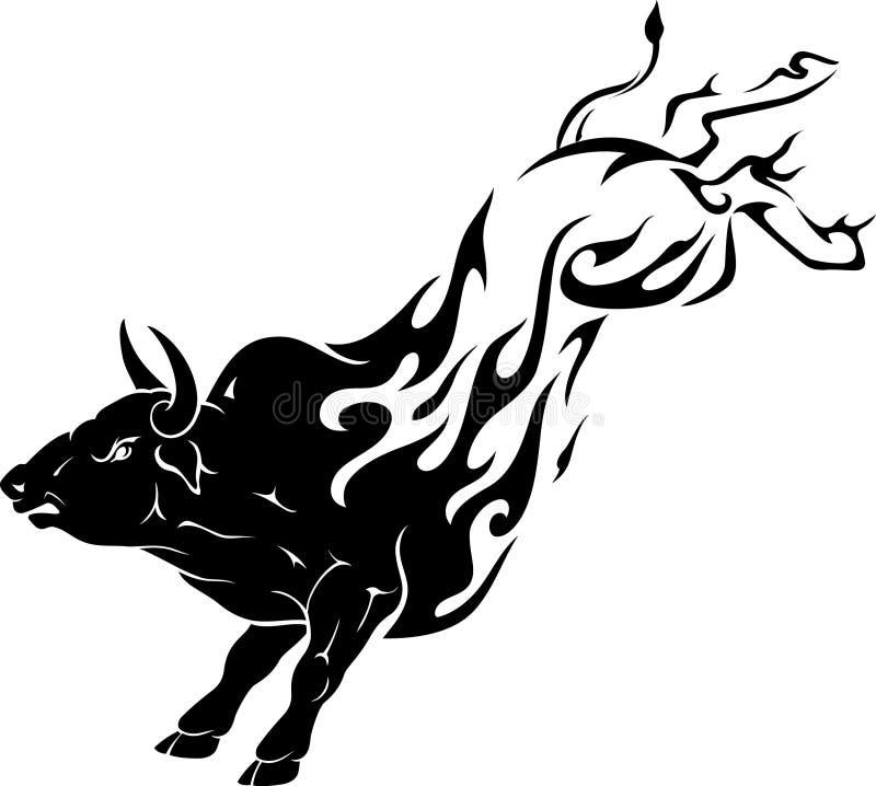 Chama do pontapé de Bull ilustração do vetor