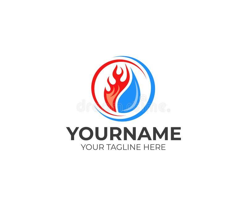 A chama e a gota molham, refrigerando e aquecendo o molde do logotipo Vetor do encanamento, do aquecimento, do abastecimento de g