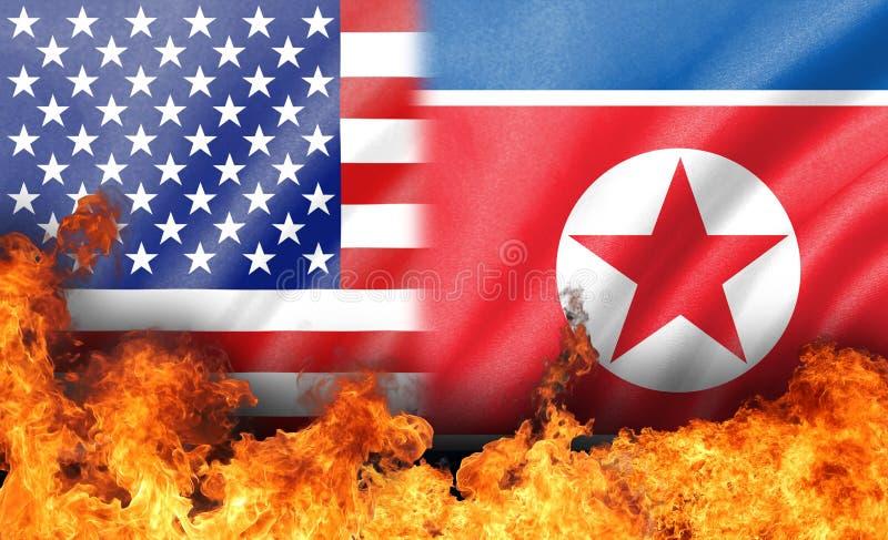 Chama em nós e na bandeira da Coreia do Norte fotografia de stock royalty free