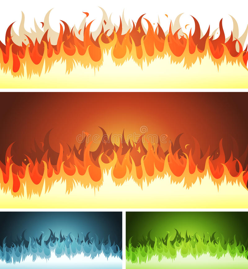 Chama, fogo ardente e chamas ajustados ilustração do vetor