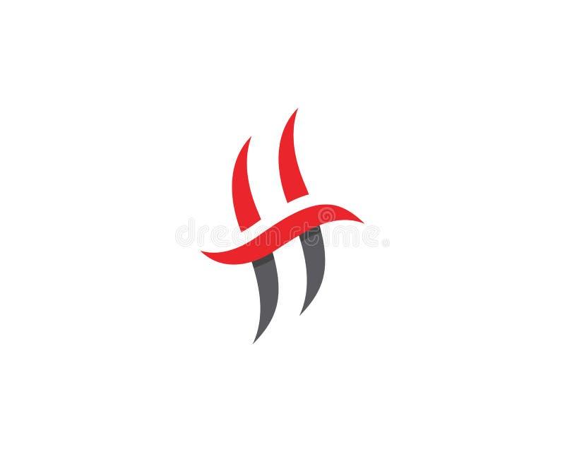 Chama Logo Template do fogo da letra de H ilustração stock