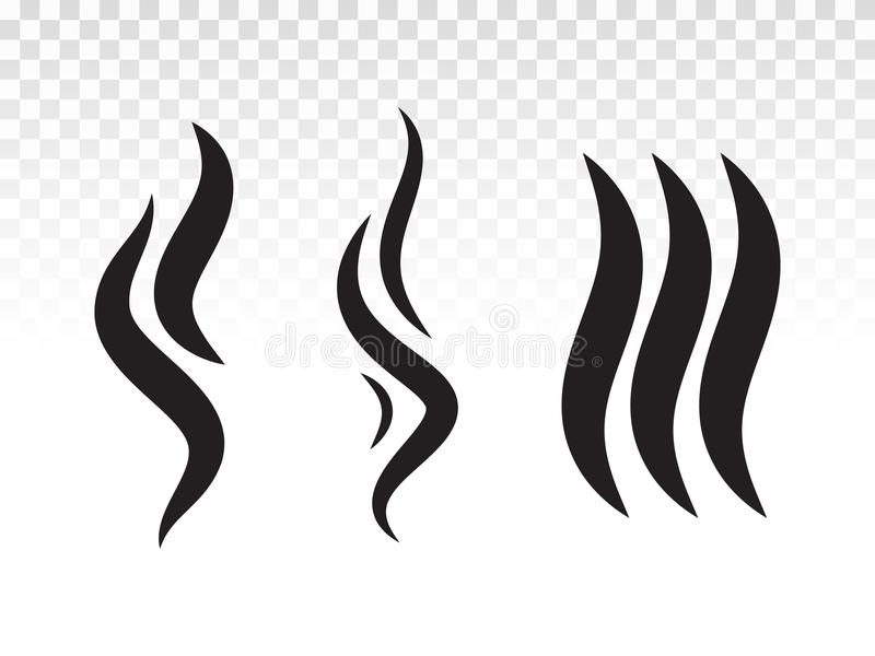 A chama ou o perfume do fumo do BBQ fumes o ícone do vapor ilustração do vetor