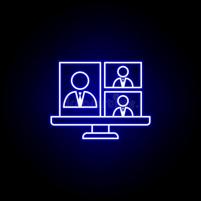 Chamada, conferência, portátil, ícone da conversa do negócio r Os sinais e os s?mbolos podem ilustração do vetor