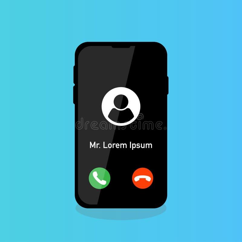 a chamada do telefone aceita a rejeição com ícone da pessoa ilustração royalty free