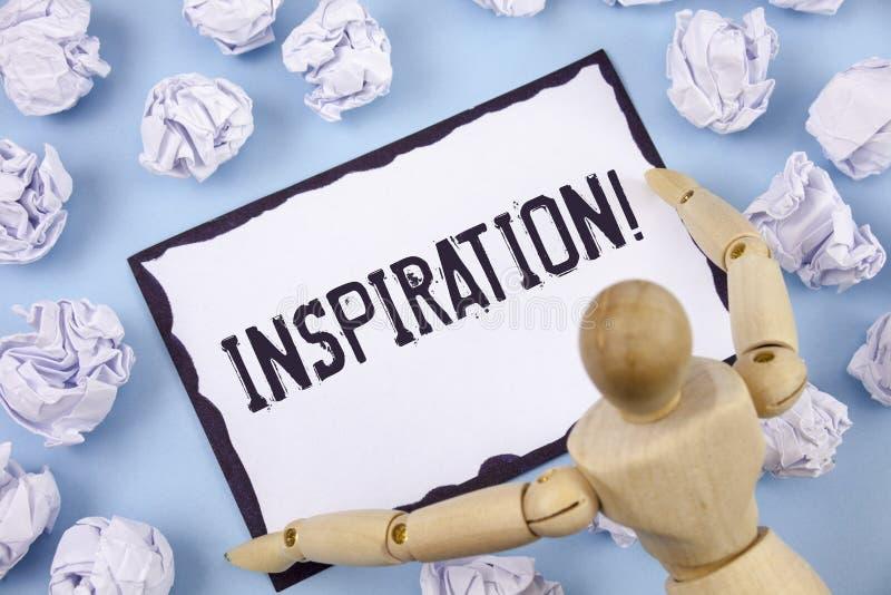 Chamada inspirador da inspiração da escrita do texto da escrita Estimulação do significado do conceito para sentir ou fazer algo  fotos de stock