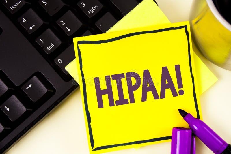 Chamada inspirador de Hipaa do texto da escrita Mobilidade do seguro de saúde do significado do conceito e ato da responsabilidad imagem de stock