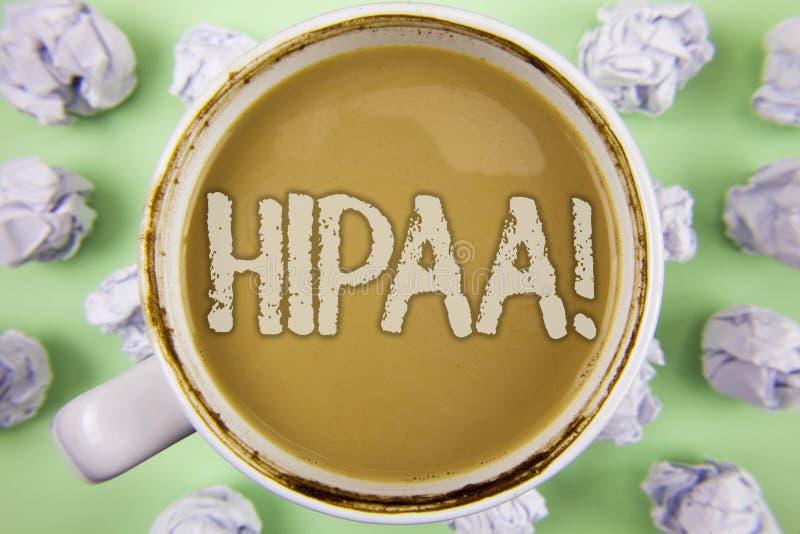 Chamada inspirador de Hipaa do texto da escrita Mobilidade do seguro de saúde do significado do conceito e ato da responsabilidad imagens de stock