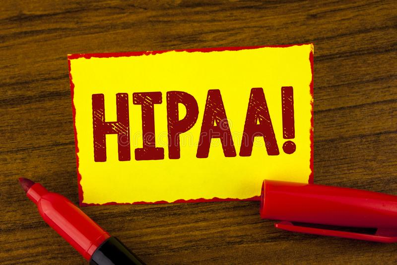 Chamada inspirador de Hipaa do texto da escrita Mobilidade do seguro de saúde do significado do conceito e ato da responsabilidad foto de stock