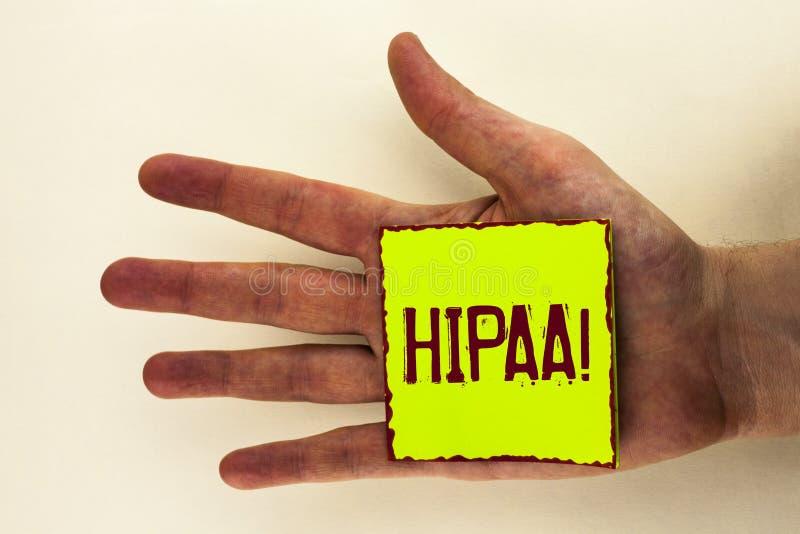 Chamada inspirador de Hipaa do texto da escrita da palavra Conceito do negócio para a mobilidade do seguro de saúde e ato da resp fotos de stock