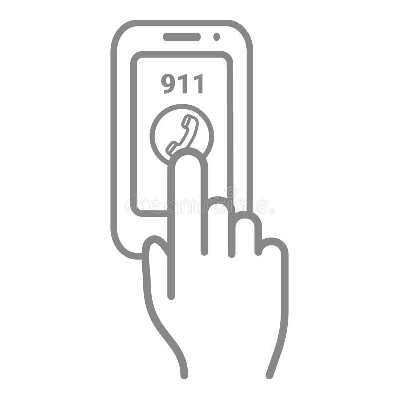 Chamada número 911 da emergência em um tela táctil isolado em um fundo branco Ilustração do ícone do vetor ilustração do vetor