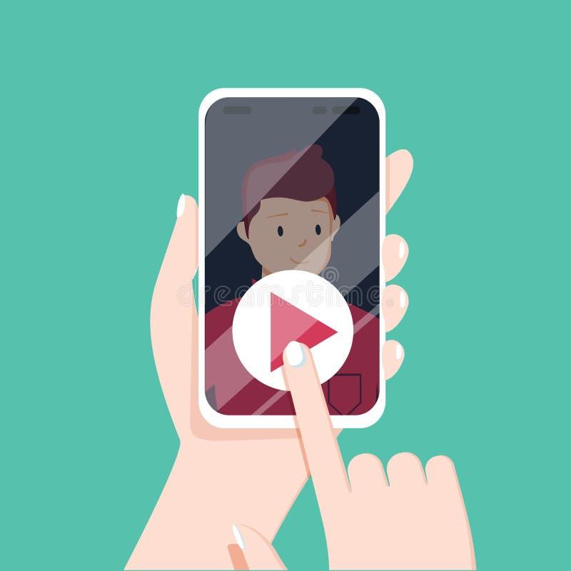 Chamada video com amada Mão fêmea que guarda o smartphone com b ilustração stock