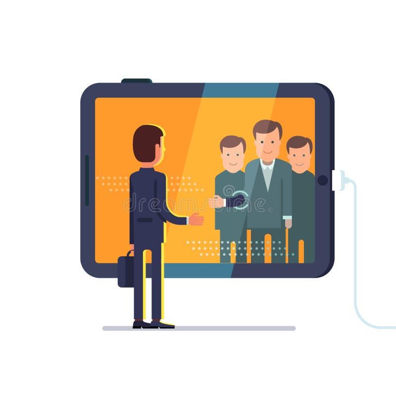 Chamada video da conferência através do tablet pc enorme ilustração stock