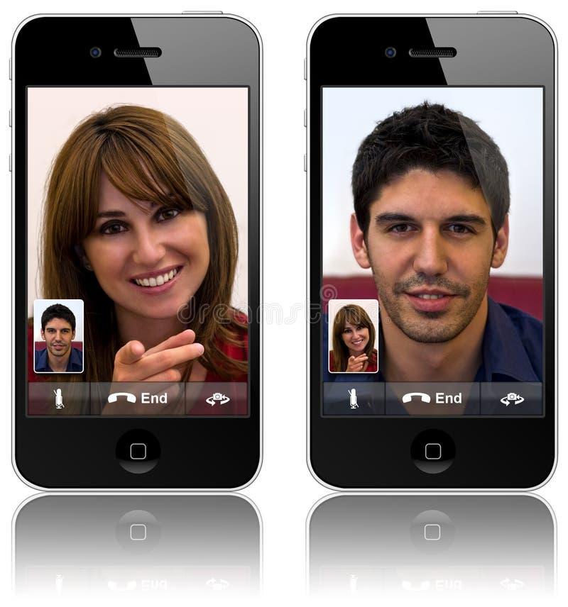 Chamada video do iPhone 4 novos de Apple fotografia de stock royalty free