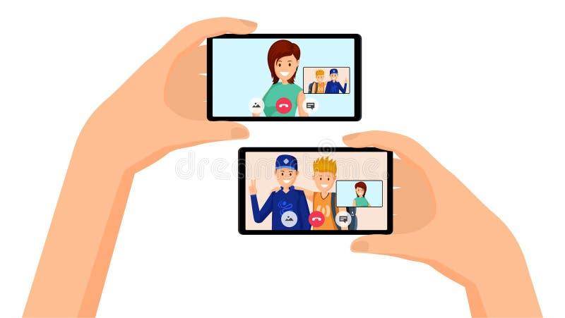 Chamada video, ilustração da conversação dos amigos ilustração stock