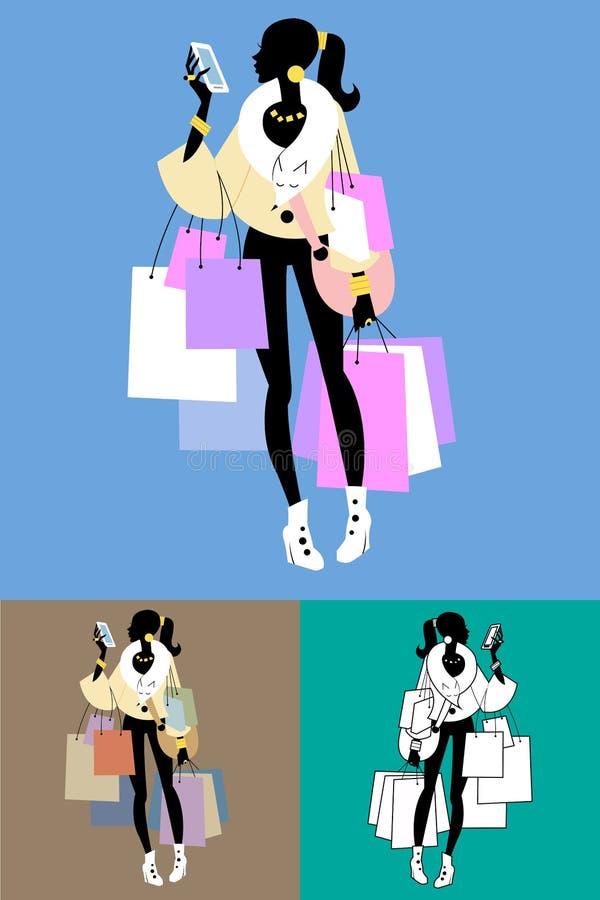 Chamadas de Shopaholic do Fashionista ilustração royalty free