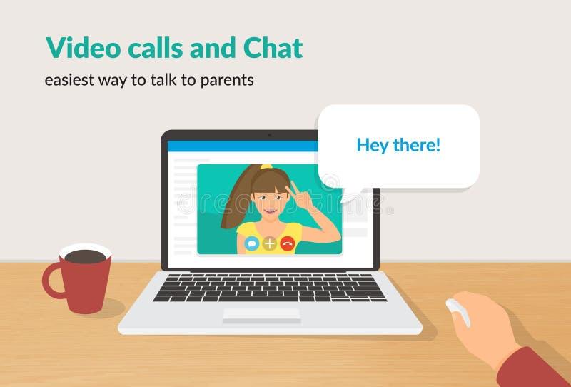 Chamadas do vídeo e ilustração lisa do vetor do conceito do bate-papo da menina feliz que fala a seu pai ilustração do vetor