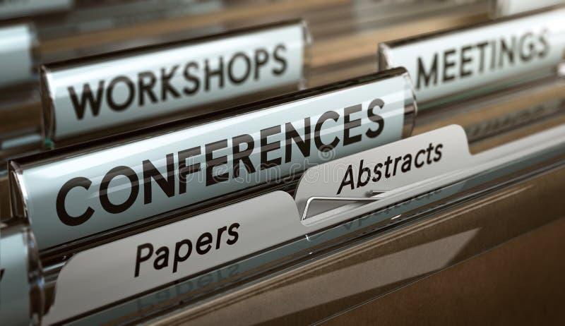 Chamadas para papéis e sumários para conferências, oficinas ou Mee ilustração do vetor