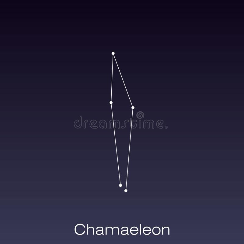 Constellation as it can be seen by the naked eye. Chamaeleon constellation as it can be seen by the naked eye vector illustration