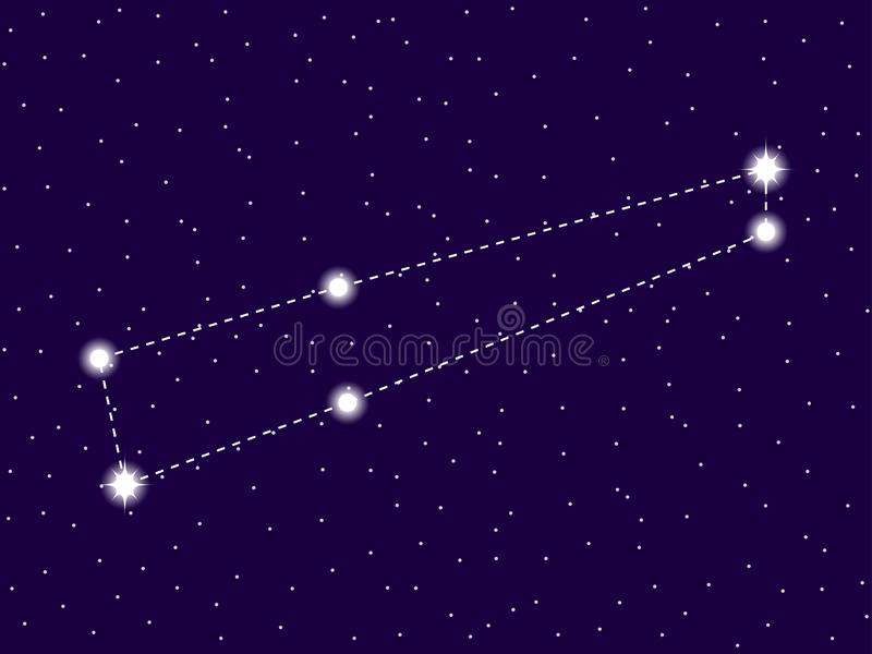Chamaeleon constellation. Starry night sky. Zodiac sign. Cluster of stars and galaxies. Deep space. Vector. Illustration stock illustration