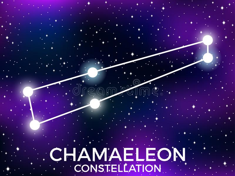 Chamaeleon constellation. Starry night sky. Zodiac sign. Cluster of stars and galaxies. Deep space. Vector. Illustration vector illustration