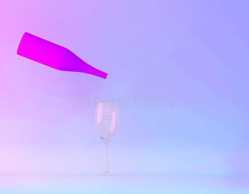 Chamagne with party in vibrant bold gradient purple and blue holographic colors background. Party minimal concept. Chamagne with party in vibrant bold gradient royalty free stock images