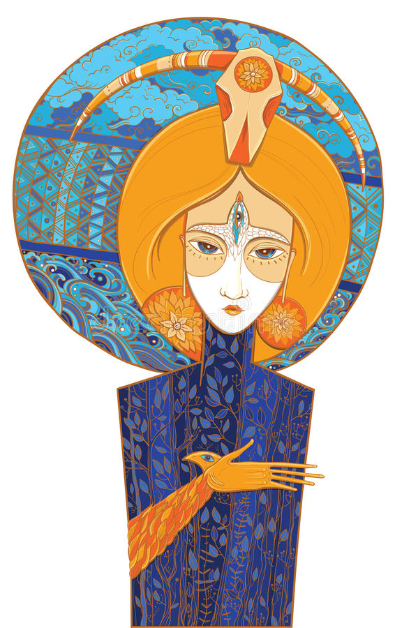 Chaman Goddess de renouvellement Illustration de vecteur illustration de vecteur