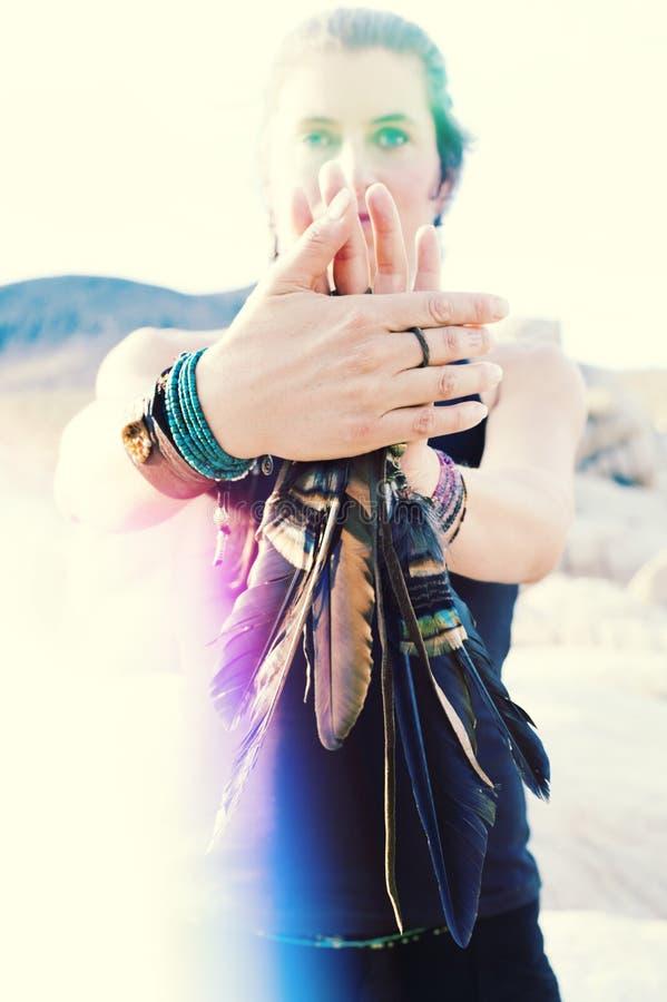 Chaman Woman Bird Totem photos stock