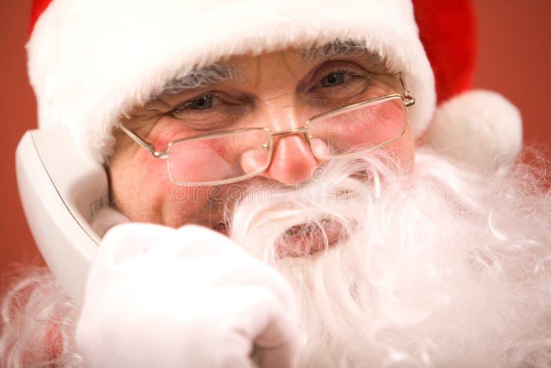 Chamando Papai Noel fotos de stock