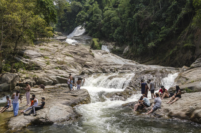 Chamang瀑布, Bentong,马来西亚 免版税库存照片
