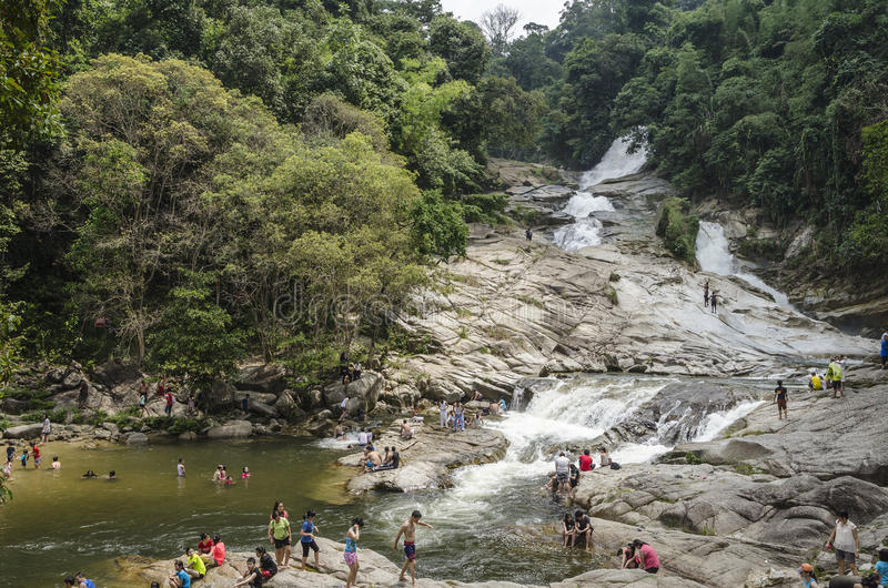 Chamang Waterfall, Bentong, Malaysia royalty free stock photos