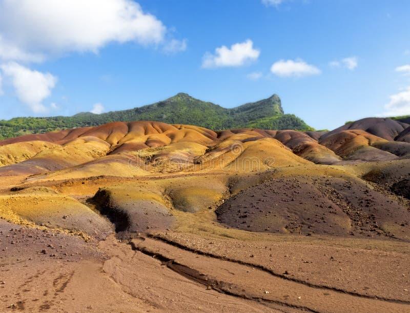 Chamarel多色的沙丘  库存图片