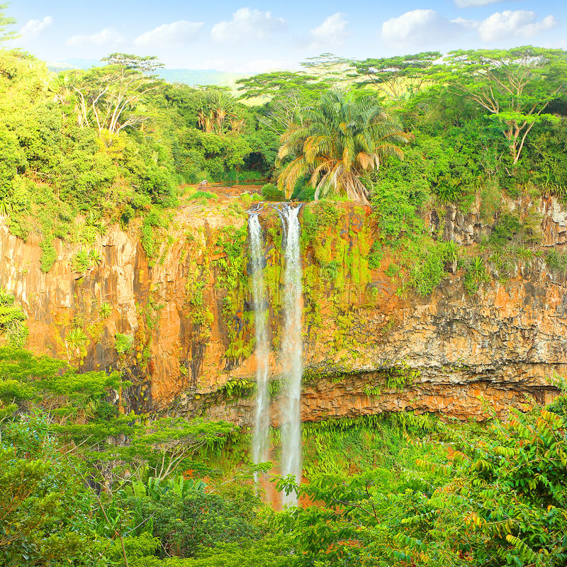 Chamarel waterfall. stock photo