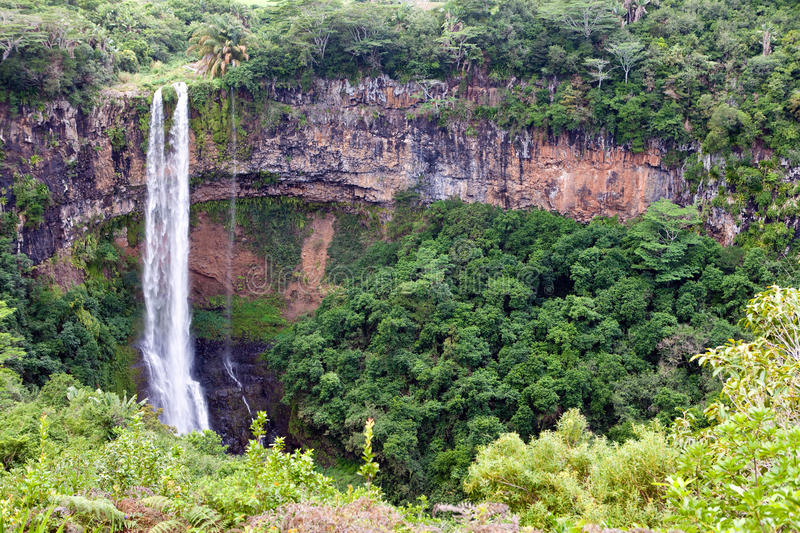 Chamarel waterfalls in Mauritius,Landscape royalty free stock images