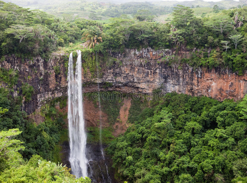 Chamarel waterfalls in a sunny day.Mauritius stock images
