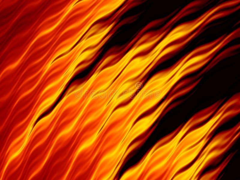 Chamas abstratas do fogo no fundo preto Textura impetuosa brilhante ilustração stock