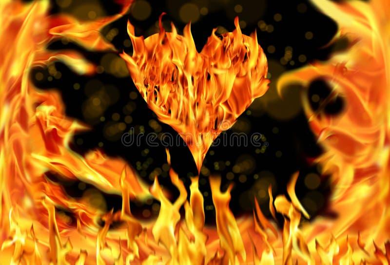 chamas da forma e do fogo do coração fotografia de stock