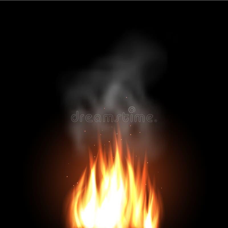 Chamas do fogo em um fundo escuro fotografia de stock royalty free