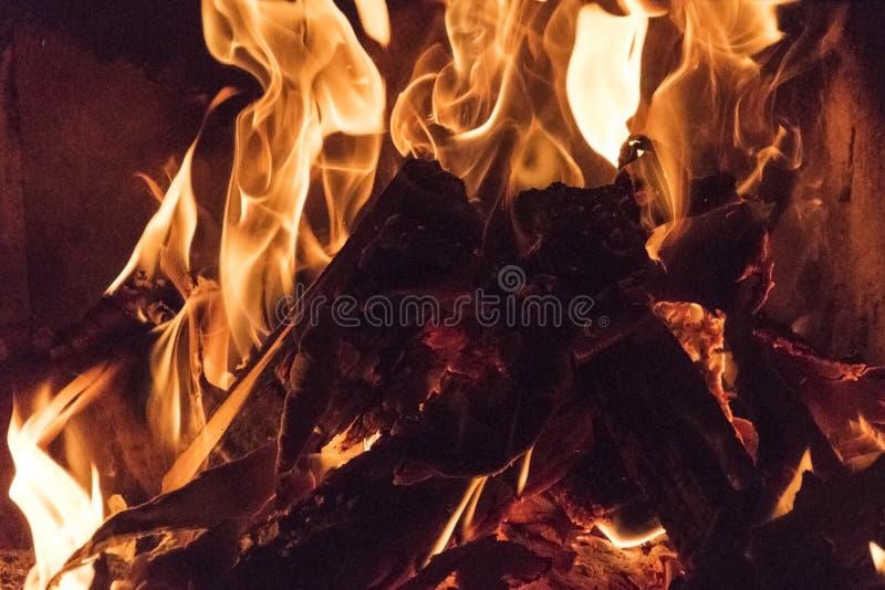 Chamas do fogo, foto ascendente próxima da fogueira Phenomen naturais bonitos imagens de stock