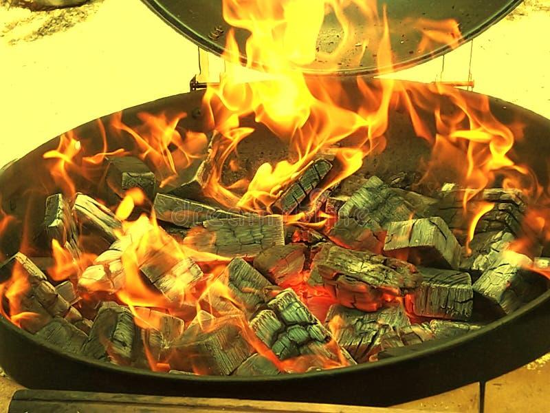 Chamas e cinzas do fogo fotos de stock