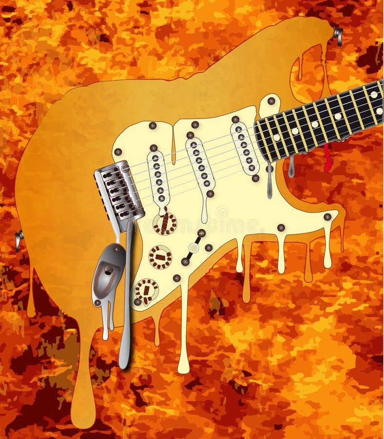 Chamas que derretem a guitarra ilustração stock