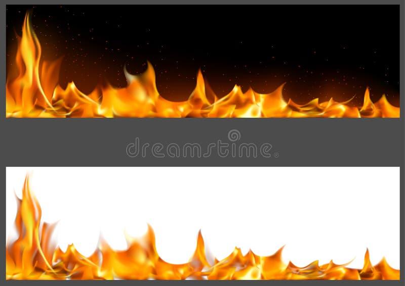 Chamas realísticas do fogo em bandeiras ilustração royalty free