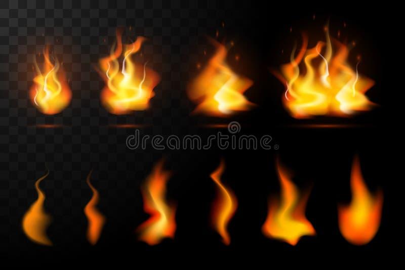 Chamas real?sticas do fogo ajustadas ilustração royalty free