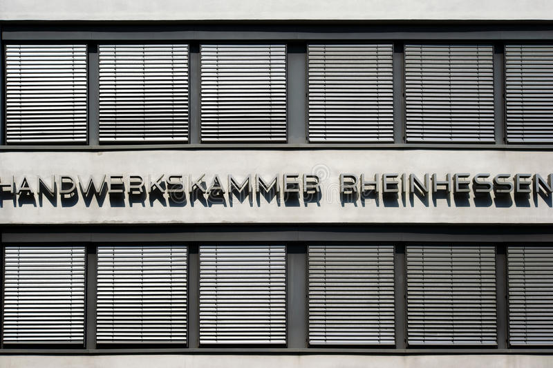 Chamber of Crafts Rheinhessen. Mainz, Germany - August 22, 2015: The exterior and window facade of a modern office building of the Chamber of Crafts Rheinhessen royalty free stock photos