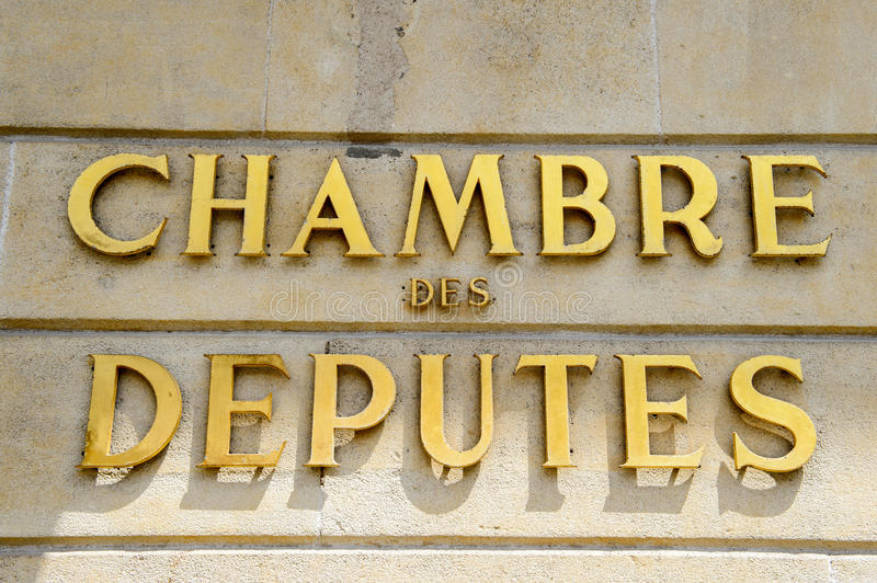 Chamber of Deputies signage. (Luxembourgish: D'Chamber, French: Chambre des Deputes, German: Abgeordnetenkammer), abbreviated to the Chamber the unicameral royalty free stock images