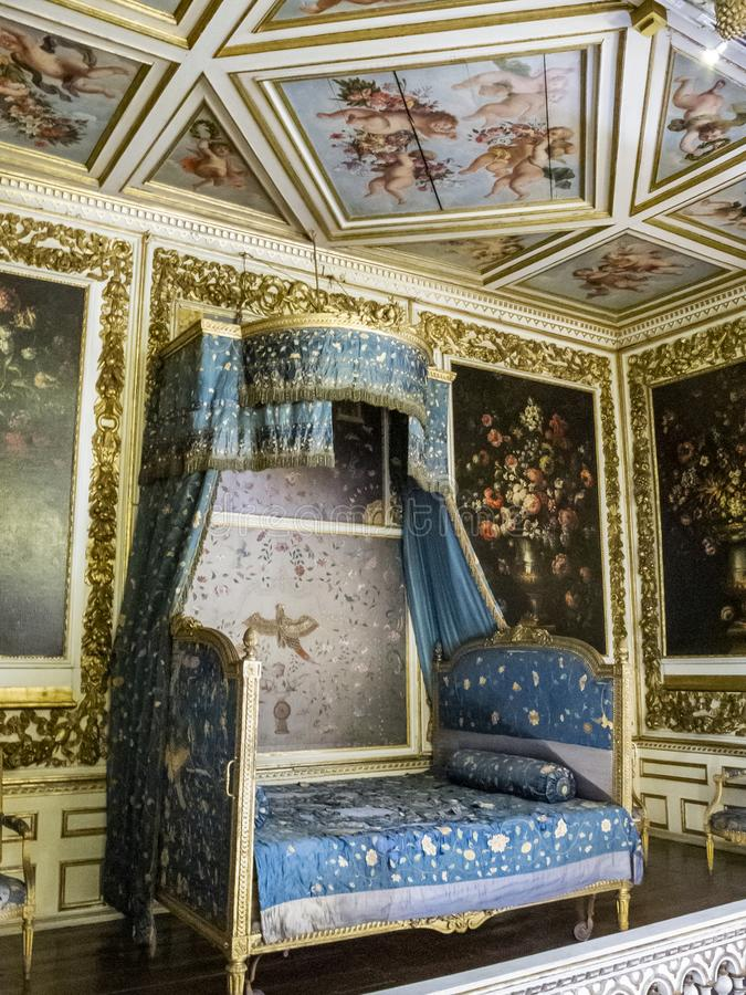 Chamber of Duc de Montmorency in Modave Castle or Castle of the Counts of Marchin in Belgium. MODAVE, BELGIUM - SEPTEMBER 02, 2015: Chamber of Duc de Montmorency royalty free stock image